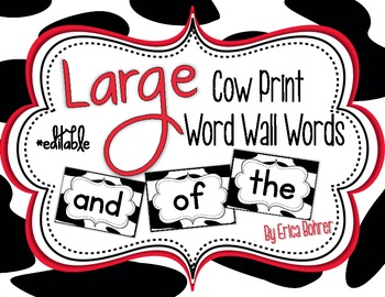 Cow Print Word Wall Words