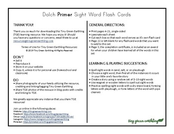 LARGE Dolch Primer Sight Words Flash Cards