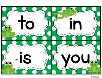 Frog Themed Word Wall Words