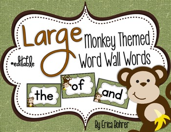 Monkey Themed Word Wall Words