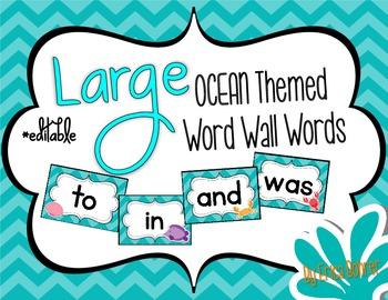 Ocean Themed Word Wall Words