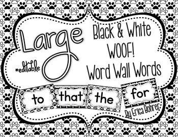 Black & White WOOF! Word Wall Words