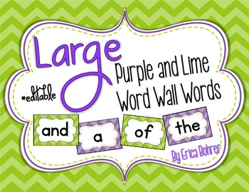 Purple and Lime Word Wall Words