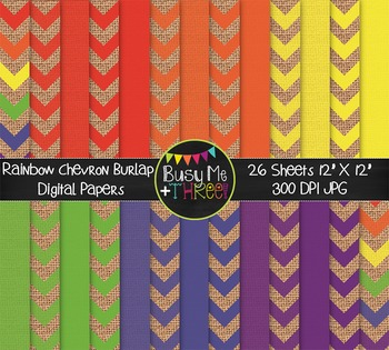 LARGE Rainbow Chevron Burlap Digital Papers {Commercial Use Digital Graphics}