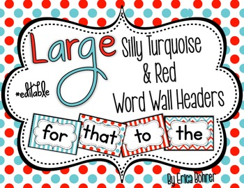Turquoise and Red Word Wall Words