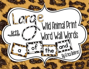 Animal Print Word Wall Words
