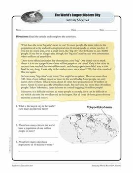 LARGEST MODERN CITY: TOKYO-YOKOHAMA, JAPAN—History Worksheets and Activities