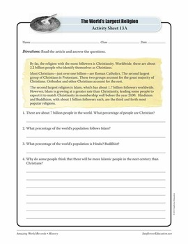 LARGEST RELIGION: CHRISTIANITY — History Worksheets and Activities