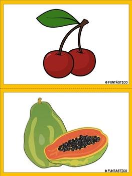 LAS COMIDAS FLASHCARDS AND LABELS- Includes Frutas y Verduras