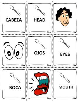 """SPANISH BODY PARTS """"EL CUERPO"""" """"CUCHARAS"""" (Spoons)"""