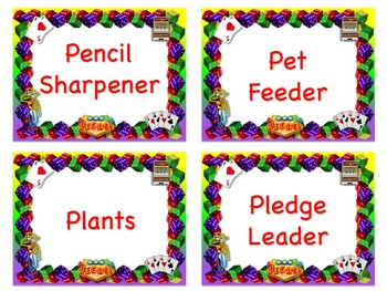 LAS VEGAS Theme Job Chart Cards/Signs - Great for Classroom Management!