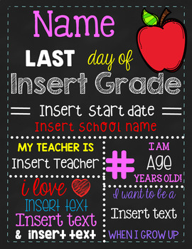 LAST DAY of School Sign - Complements FREEBIE Sign