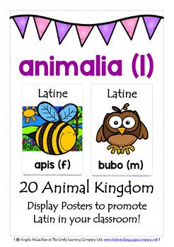 LATIN ANIMALS (1) - CLASSROOM DECOR - 20 DISPLAY POSTERS /