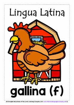 LATIN FOR CHILDREN - 20 ANIMALS POSTERS / FLASHCARDS (2)