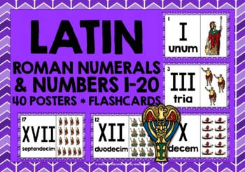 LATIN FOR CHILDREN - NUMBERS & ROMAN NUMERALS 1-20 POSTERS / FLASHCARDS