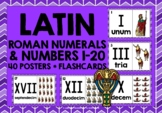 ELEMENTARY LATIN NUMBERS ROMAN NUMERALS 1-20 FLASHCARDS POSTERS