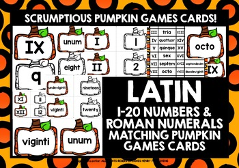 LATIN NUMBERS 1-20 & ROMAN NUMERALS AUTUMN GAMES CARDS & REFERENCE SHEET