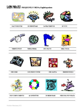 LATIN Phrases in English Vocabulary: Common Core Aligned Worksheets and Activity