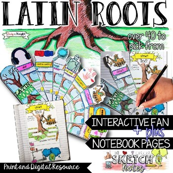 LATIN ROOTS VOCABULARY, INTERACTIVE ACTIVITIES, SKETCHNOTES, AND FAN