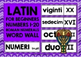 LATIN WORD WALL: LATIN NUMBERS & ROMAN NUMERALS 1-20 WORD WALL