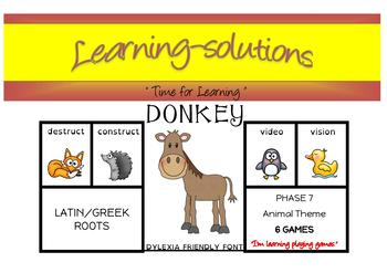 LATIN and GREEK ROOTS - DONKEY CARD GAME - 1 game with Directions - FREEBIE