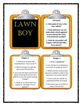 Gary Paulsen LAWN BOY - Discussion Cards