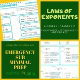 LAWS of EXPONENTS EXPONENTIAL LAWS Worksheet + Cheat / Ref