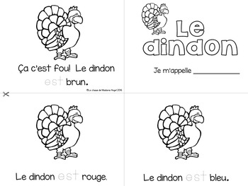 L'Action de Grace: Thanksgiving Themed Emergent Readers in French - 3 mini-books