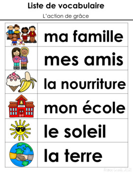 L'Action de grace - Primary French Activities