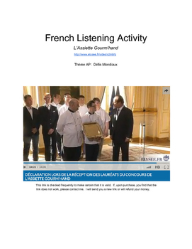 L'Assiette Gourm'hand Listening Proficiency Activity - video and worksheet