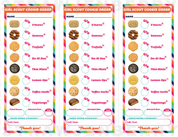 LBB Cookie Order Form Printable Download Girl Scout Inspired 3 UP