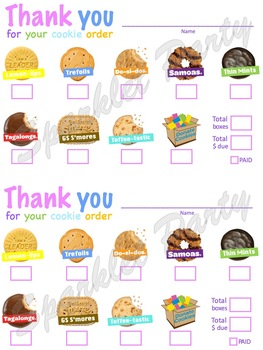 LBB Girl Scout Cookies Order Thank You Printable Little Brownie Cookie Form
