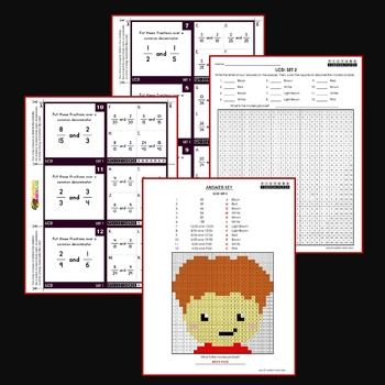 Least Common Denominator Center Activity, LCD Activities Sheets and Task Cards