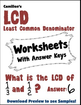 least common denominator worksheet teaching resources  teachers pay   finding lcd worksheets least common denominator worksheet collection