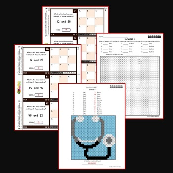 Least Common Multiple Center Activity, LCM Activities Sheets and Task Cards