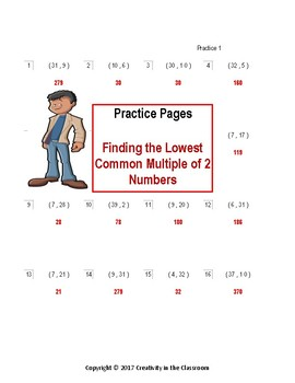 LCM - Finding the Lowest Common Multiple of Two Numbers  - Practice Worksheets
