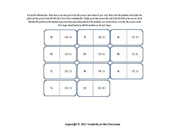 LCM - Finding the Lowest Common Multiple of Two Numbers - Cut and Paste Activity