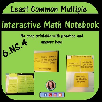 Least Common Multiple Foldable for Interactive Notebook