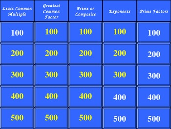 LCM, GCF, Prime/Composite, Exponents, and Prime Factors Jeopardy!