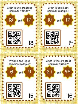 LCM & GCF QR Code Task Cards