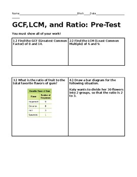 LCM, GCF, and Ratios: Pre-Test