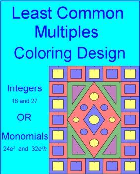 LCM - Integers or Monomials Coloring Activity