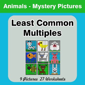 LCM: Least Common Multiple - Animals Mystery Pictures / Color By Number