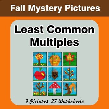 LCM: Least Common Multiple - Autumn Mystery Pictures / Color By Number