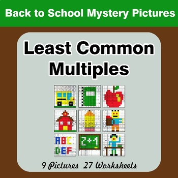 LCM: Least Common Multiple - Back To School Mystery Pictures / Color By Number