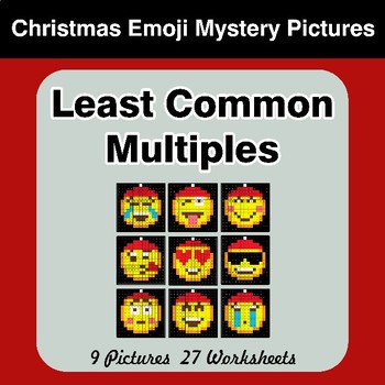 LCM: Least Common Multiple - Christmas Emoji Mystery Pictures / Color By Number