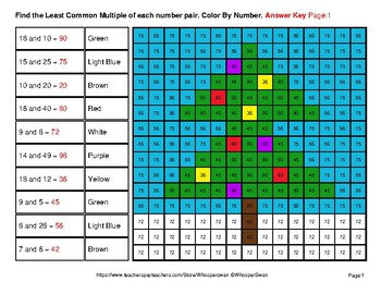 LCM: Least Common Multiple - Christmas Mystery Pictures / Color By Number