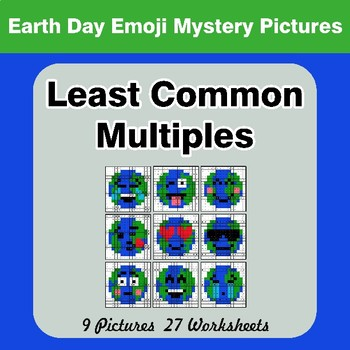 LCM: Least Common Multiple - Earth Day Emoji Mystery Pictures / Color By Number