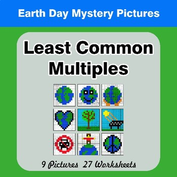 LCM: Least Common Multiple - Earth Day Mystery Pictures / Color By Number