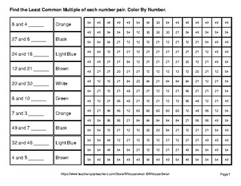 LCM: Least Common Multiple - Halloween Emoji Mystery Pictures / Color By Number